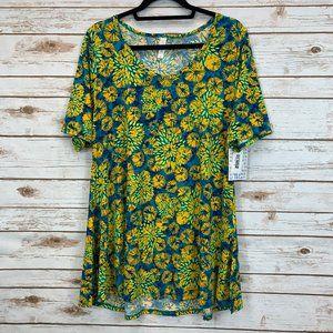 LuLaRoe Perfect T XL Blue/Green/Yellow Aloha NWT
